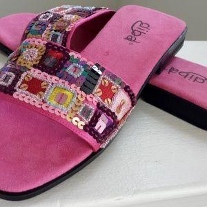 Diba Sequined Beaded Embellished Slide On Sandals